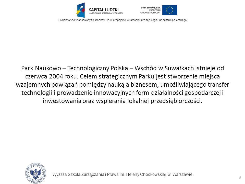 Wyższa Szkoła Zarządzania i Prawa im. Heleny Chodkowskiej w Warszawie 8 Projekt współfinansowany ze środków Unii Europejskiej w ramach Europejskiego F