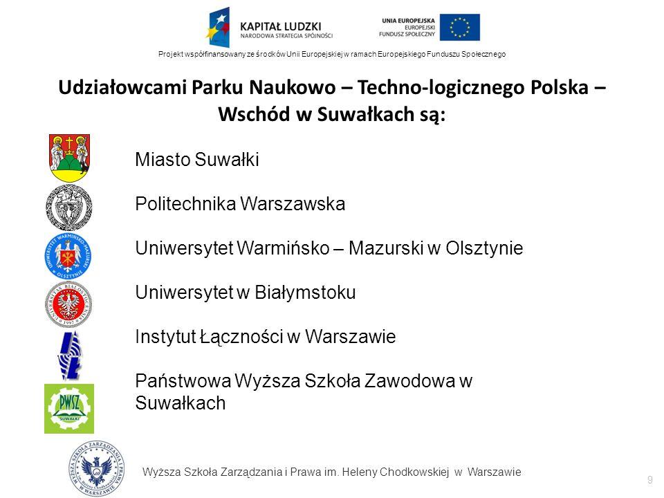 Wyższa Szkoła Zarządzania i Prawa im. Heleny Chodkowskiej w Warszawie 9 Projekt współfinansowany ze środków Unii Europejskiej w ramach Europejskiego F