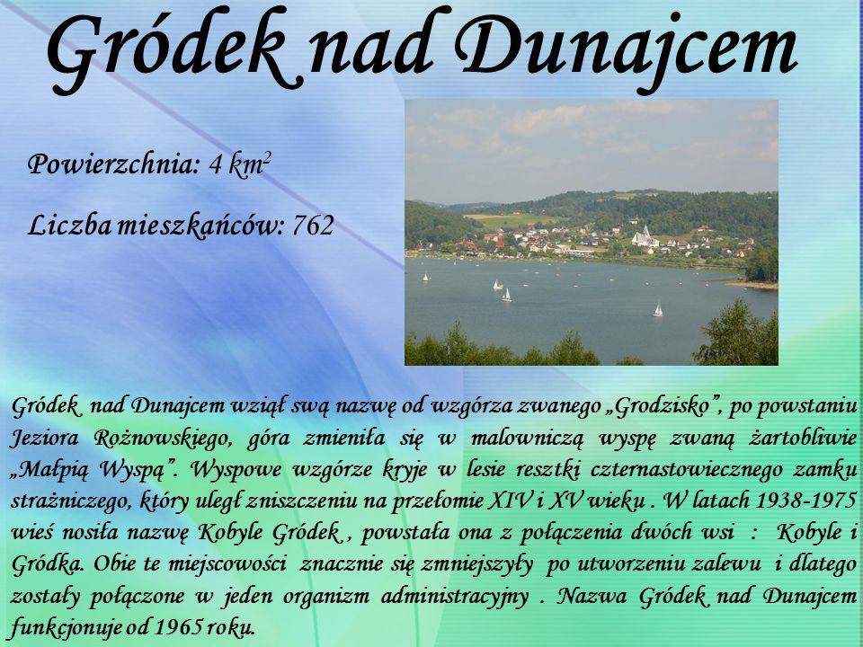 Powierzchnia: 4 km 2 Liczba mieszkańców: 762 Gródek nad Dunajcem Gródek nad Dunajcem wziął swą nazwę od wzgórza zwanego Grodzisko, po powstaniu Jeziora Rożnowskiego, góra zmieniła się w malowniczą wyspę zwaną żartobliwie Małpią Wyspą.