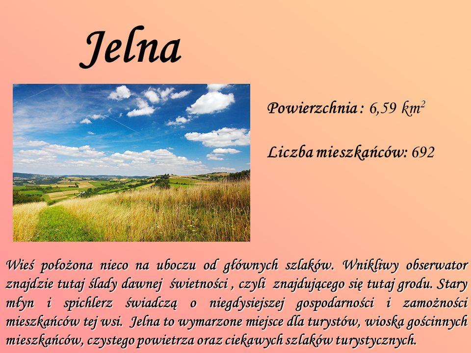 Jelna Powierzchnia : 6,59 km 2 Liczba mieszkańców: 692 Wieś położona nieco na uboczu od głównych szlaków.