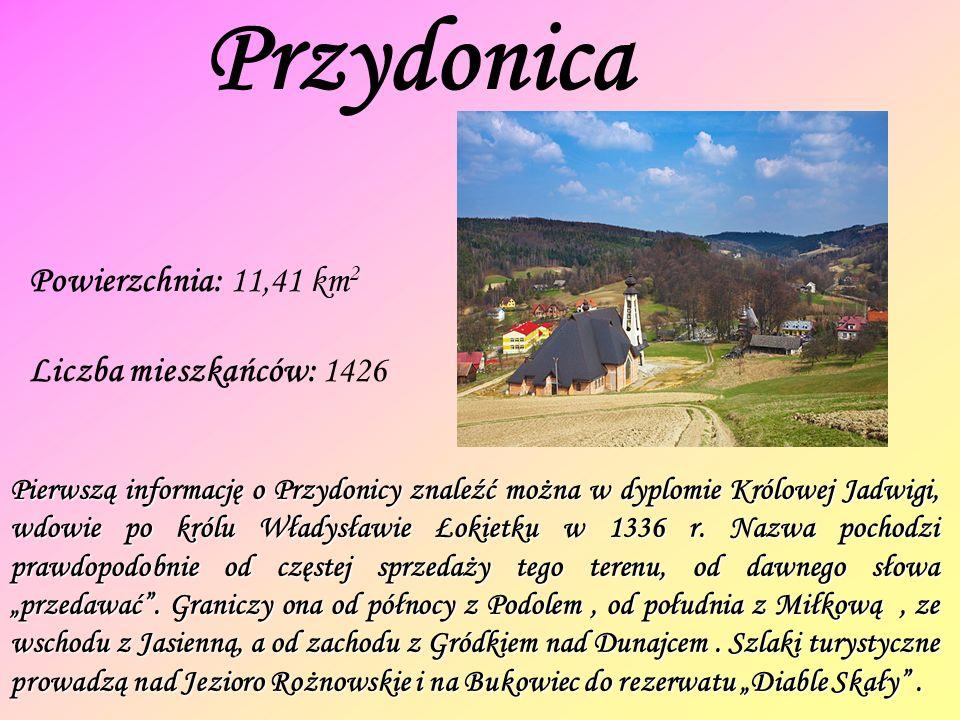 Przydonica Powierzchnia: 11,41 km 2 Liczba mieszkańców: 1426 Pierwszą informację o Przydonicy znaleźć można w dyplomie Królowej Jadwigi, wdowie po królu Władysławie Łokietku w 1336 r.