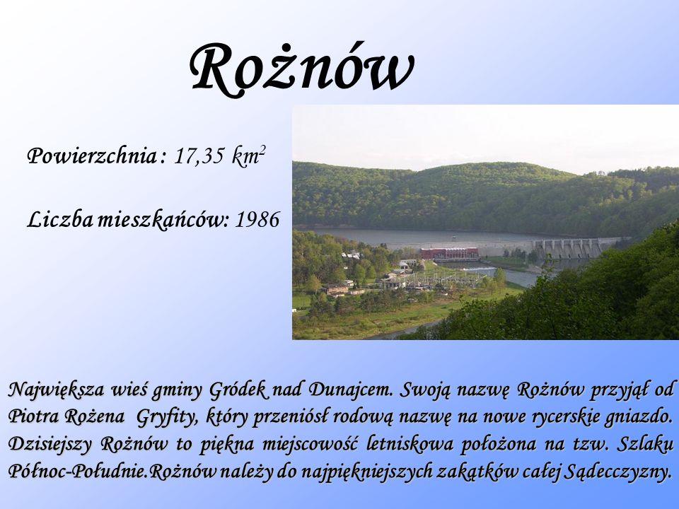 Rożnów Powierzchnia : 17,35 km 2 Liczba mieszkańców: 1986 Największa wieś gminy Gródek nad Dunajcem.
