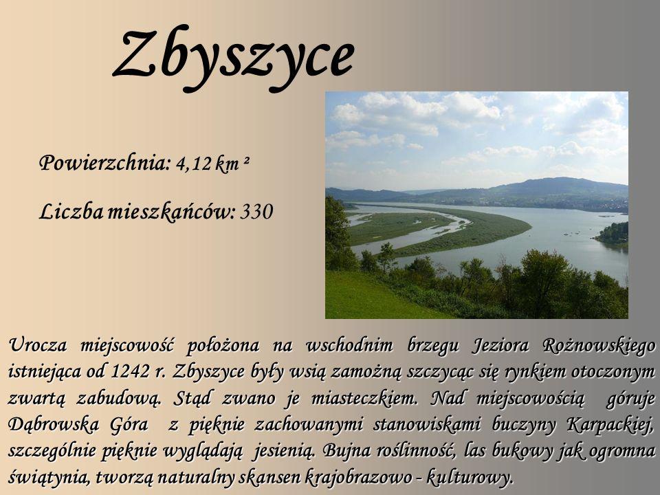 Zbyszyce Powierzchnia: 4,12 km ² Liczba mieszkańców: 330 Urocza miejscowość położona na wschodnim brzegu Jeziora Rożnowskiego istniejąca od 1242 r.