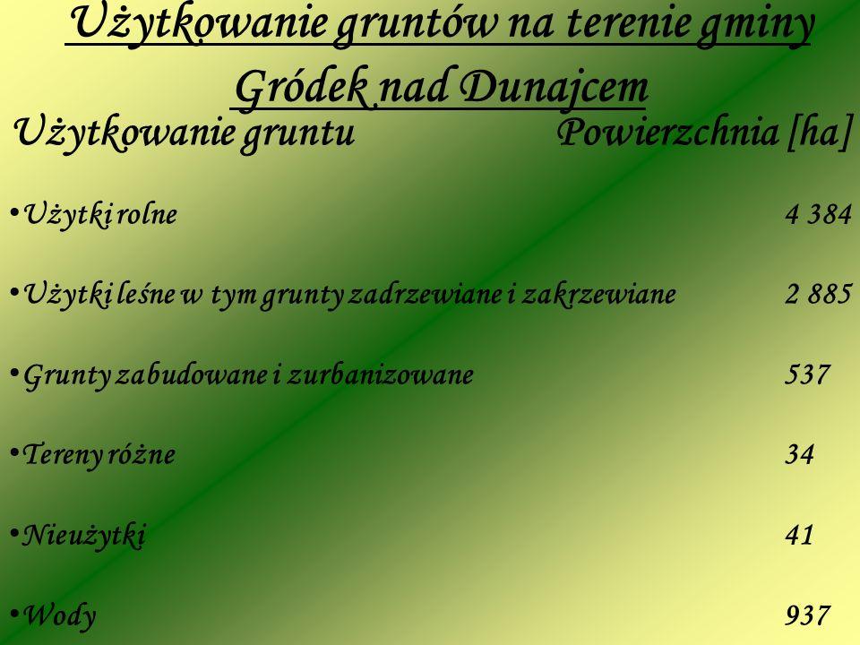 Użytkowanie gruntu Powierzchnia [ha] Użytki rolne4 384 Użytki leśne w tym grunty zadrzewiane i zakrzewiane2 885 Grunty zabudowane i zurbanizowane 537 Tereny różne34 Nieużytki41 Wody937 Użytkowanie gruntów na terenie gminy Gródek nad Dunajcem