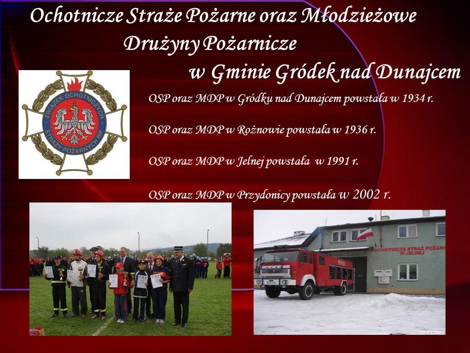 Ochotnicze Straże Pożarne oraz Młodzieżowe Drużyny Pożarnicze w Gminie Gródek nad Dunajcem OSP oraz MDP w Gródku nad Dunajcem powstała w 1934 r.