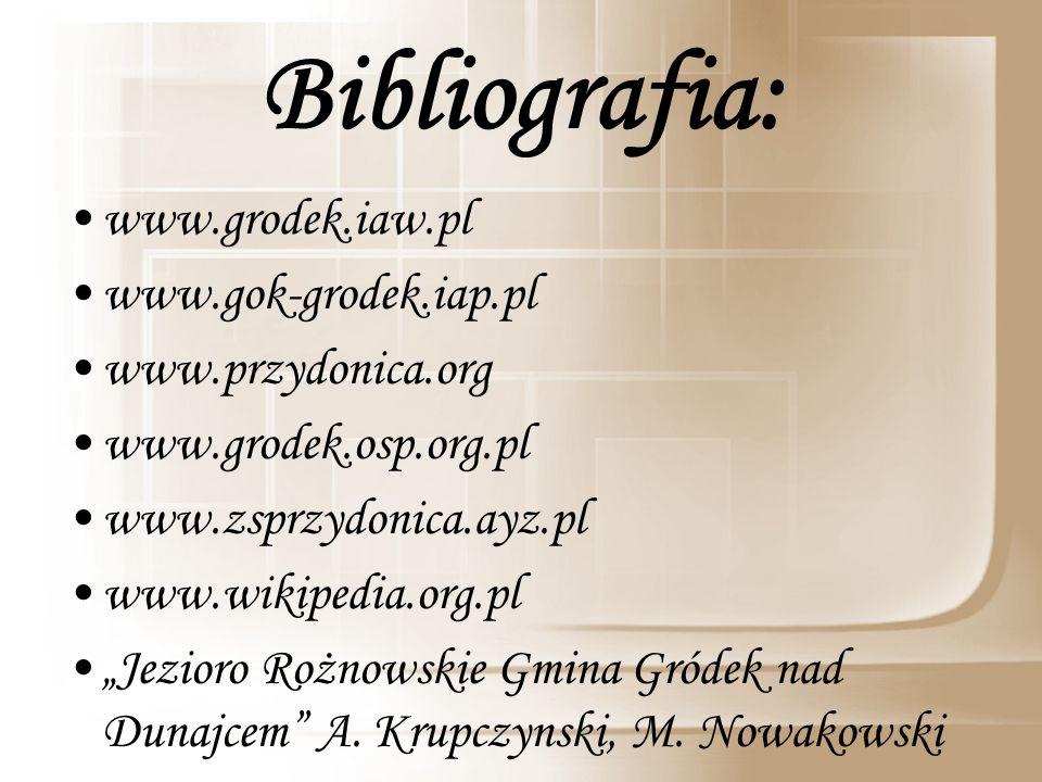 www.grodek.iaw.pl www.gok-grodek.iap.pl www.przydonica.org www.grodek.osp.org.pl www.zsprzydonica.ayz.pl www.wikipedia.org.pl Jezioro Rożnowskie Gmina Gródek nad Dunajcem A.