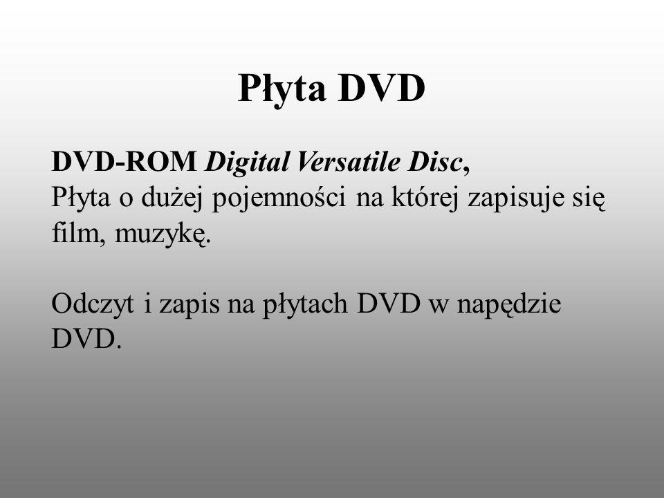 Płyta DVD DVD-ROM Digital Versatile Disc, Płyta o dużej pojemności na której zapisuje się film, muzykę.