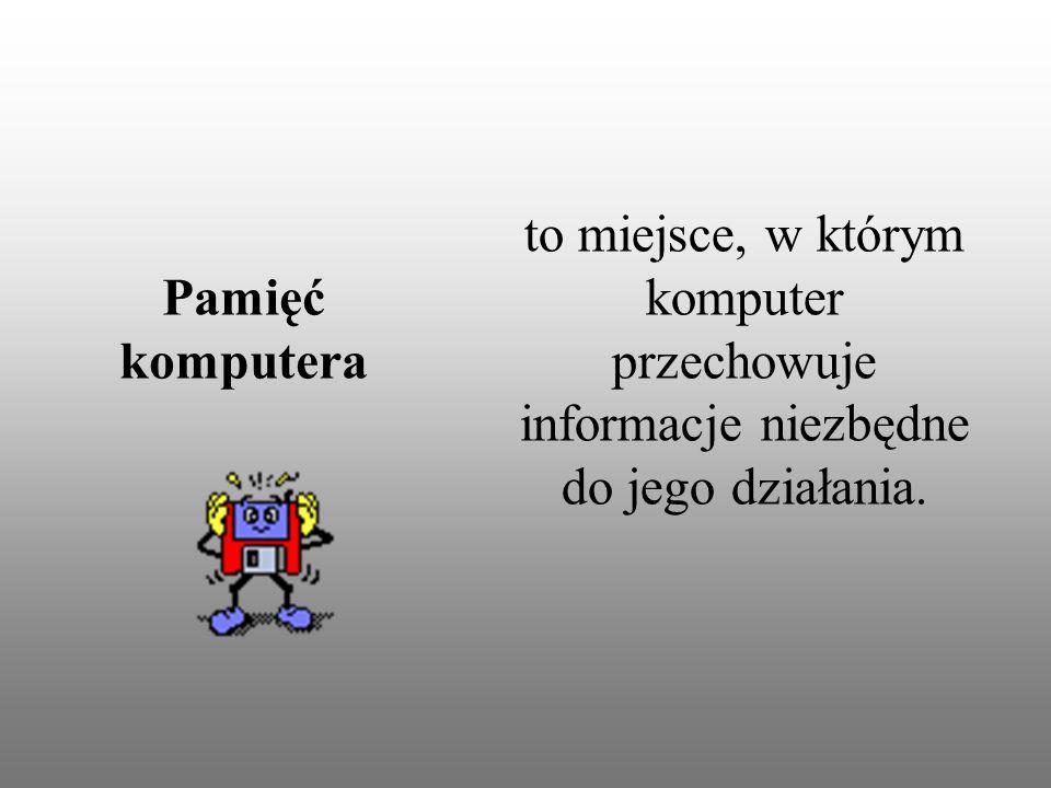 to miejsce, w którym komputer przechowuje informacje niezbędne do jego działania. Pamięć komputera