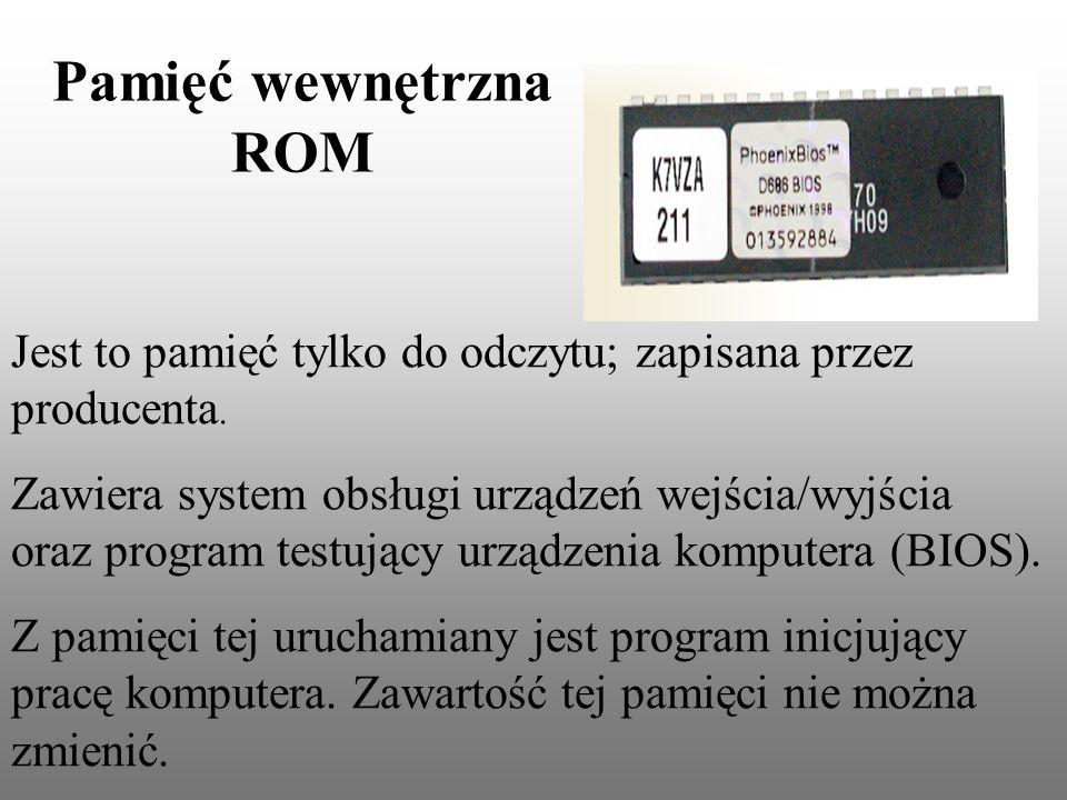 Pamięć wewnętrzna ROM Jest to pamięć tylko do odczytu; zapisana przez producenta.