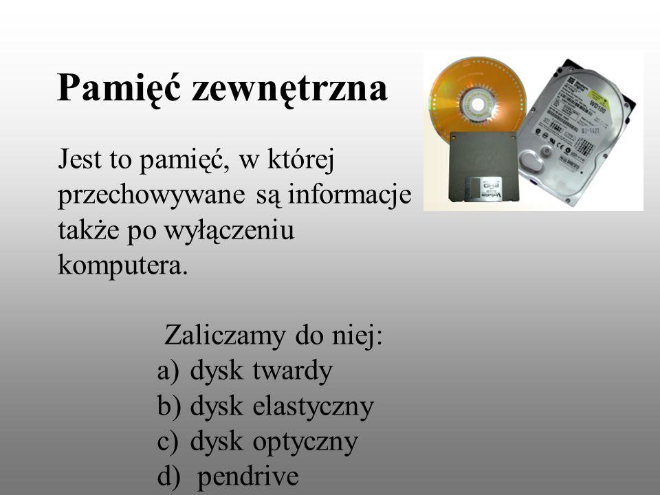 Jest to pamięć, w której przechowywane są informacje także po wyłączeniu komputera.