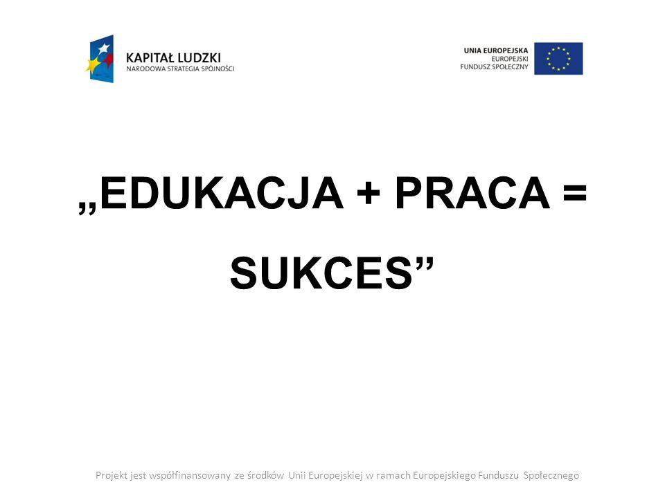 Edukacja + praca = sukces Projekt jest współfinansowany ze środków Unii Europejskiej w ramach Europejskiego Funduszu Społecznego Projekt realizowany od 01 października 2012 roku do 31 stycznia 2015 roku współfinansowany jest ze środków Unii Europejskiej w ramach Europejskiego Funduszu Społecznego Program Operacyjny Kapitał Ludzki 2007 – 2013, Priorytet VII.