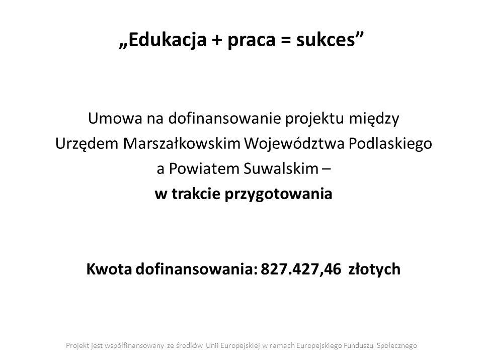 Edukacja + praca = sukces Projekt jest współfinansowany ze środków Unii Europejskiej w ramach Europejskiego Funduszu Społecznego Umowa na dofinansowan