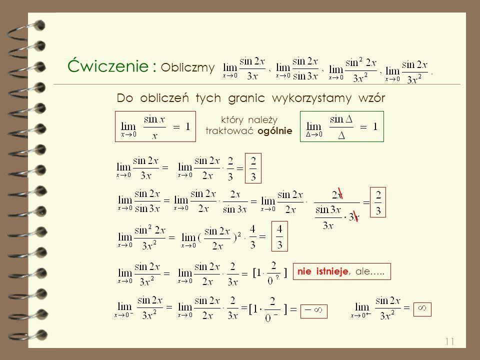 10 Dlamamy ( patrz rysunek ). wynika, że nierówność zachodzi również dla Na mocy twierdzenia o granicach trzech funkcji 1 Z parzystości i nieparzystoś