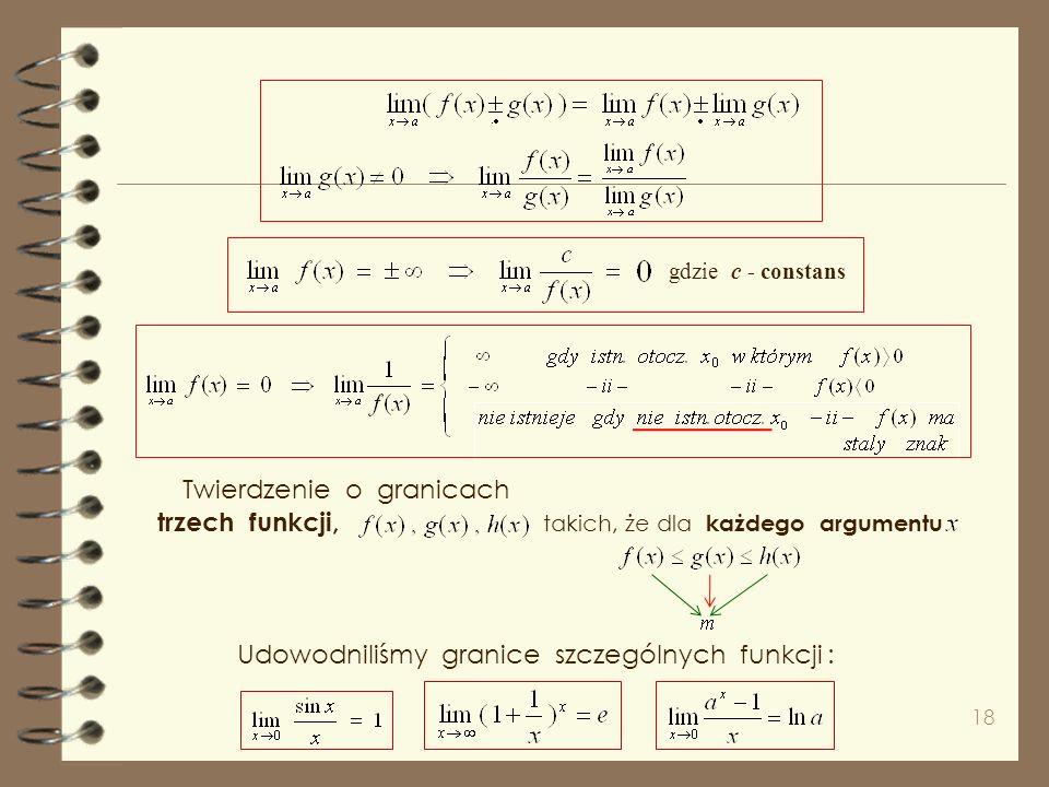 17 Na koniec naszych rozważań w tej prezentacji o ciągłości wykładniczej, i ciągłość funkcji trygonometrycznych. wielomianowej,wymiernej, Funkcję nazy