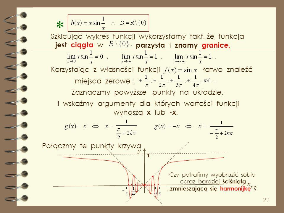 21 nie istnieje Szkicując wykres funkcji wykorzystamy fakt, że funkcja jest ciągła w i znamy granice, miejsca zerowe : i wskażmy argumenty dla których
