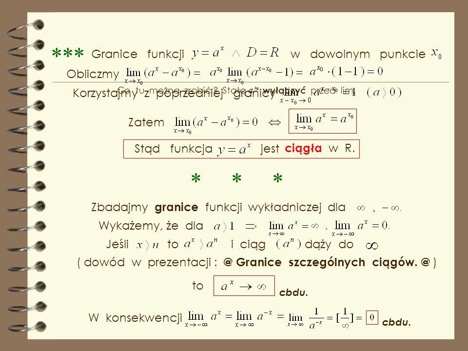 Granice funkcji w dowolnym punkcie Obliczmy Korzystajmy z poprzedniej granicy Zatem Stąd funkcja jest ciągła w R.