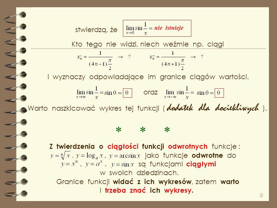 7 Ciągłość funkcji w swoich dziedzinach wynika z twierdzeń o ciągłości funkcji złożonych i ilorazie Na początku zauważmy, że dla funkcji ciągłych, bo