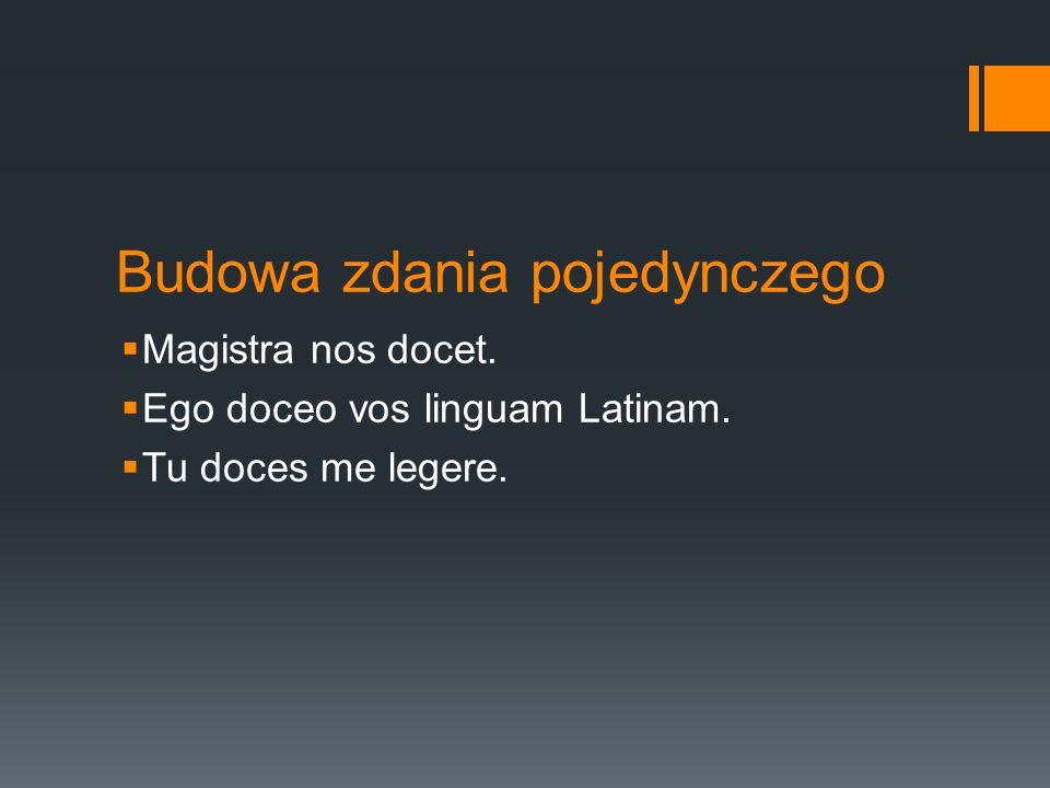 Budowa zdania pojedynczego Magistra nos docet. Ego doceo vos linguam Latinam. Tu doces me legere.