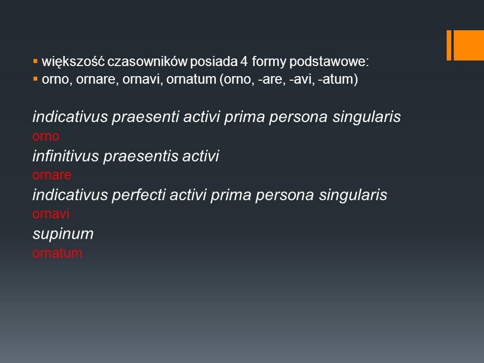 większość czasowników posiada 4 formy podstawowe: orno, ornare, ornavi, ornatum (orno, -are, -avi, -atum) indicativus praesenti activi prima persona singularis orno infinitivus praesentis activi ornare indicativus perfecti activi prima persona singularis ornavi supinum ornatum