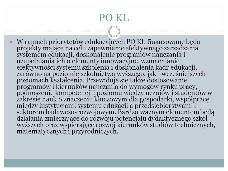 PO KL W ramach priorytetów edukacyjnych PO KL finansowane będą projekty mające na celu zapewnienie efektywnego zarządzania systemem edukacji, doskonal