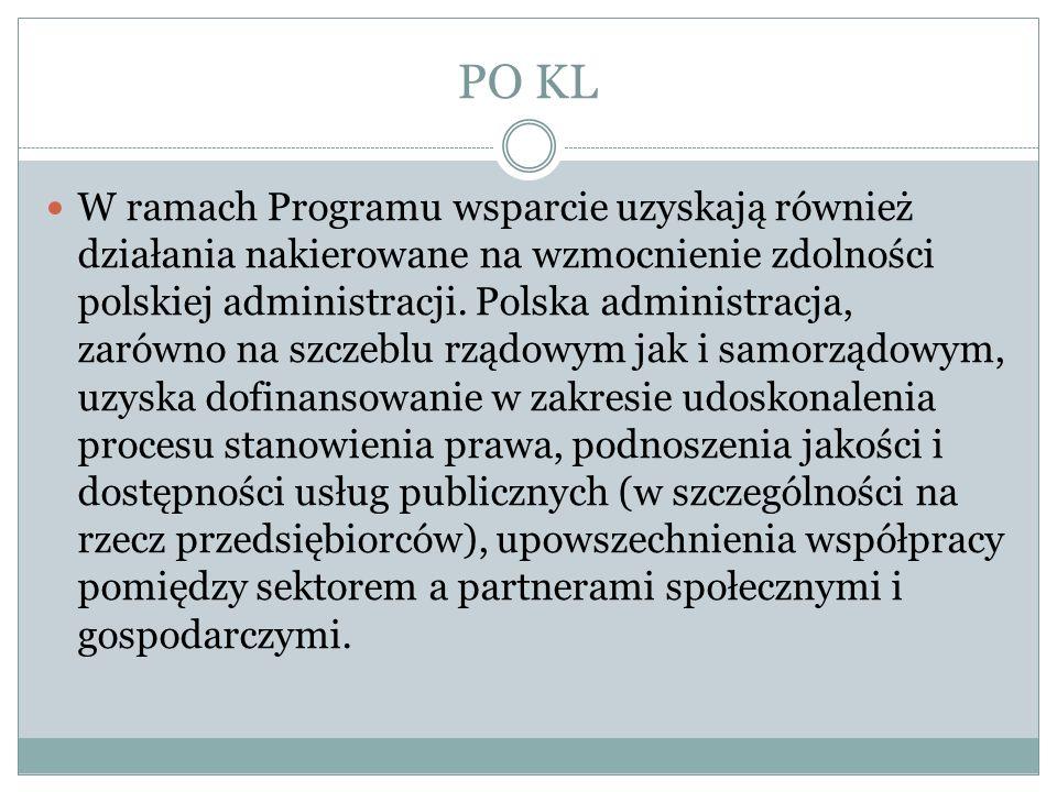 PO KL W ramach Programu wsparcie uzyskają również działania nakierowane na wzmocnienie zdolności polskiej administracji. Polska administracja, zarówno