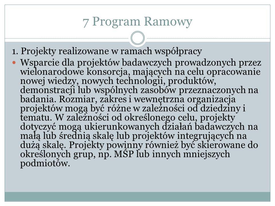 7 Program Ramowy 1. Projekty realizowane w ramach współpracy Wsparcie dla projektów badawczych prowadzonych przez wielonarodowe konsorcja, mających na