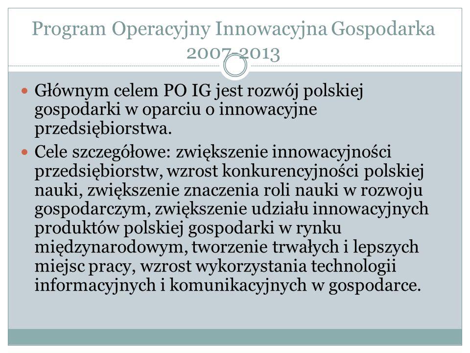 Program Operacyjny Innowacyjna Gospodarka 2007-2013 Głównym celem PO IG jest rozwój polskiej gospodarki w oparciu o innowacyjne przedsiębiorstwa. Cele