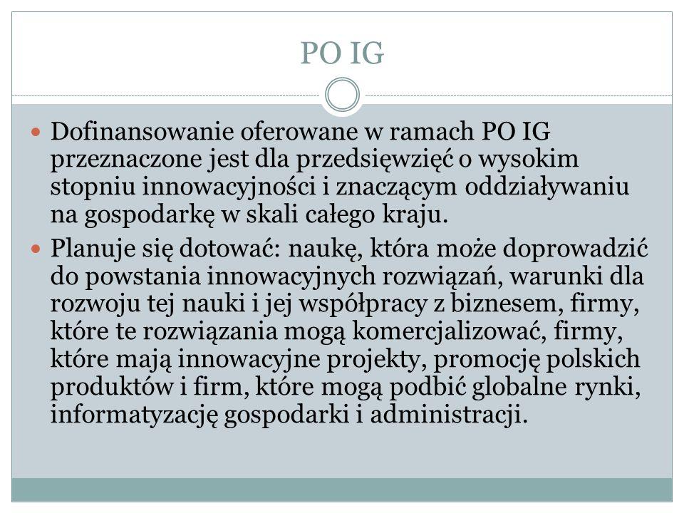 PO IG Dofinansowanie oferowane w ramach PO IG przeznaczone jest dla przedsięwzięć o wysokim stopniu innowacyjności i znaczącym oddziaływaniu na gospod
