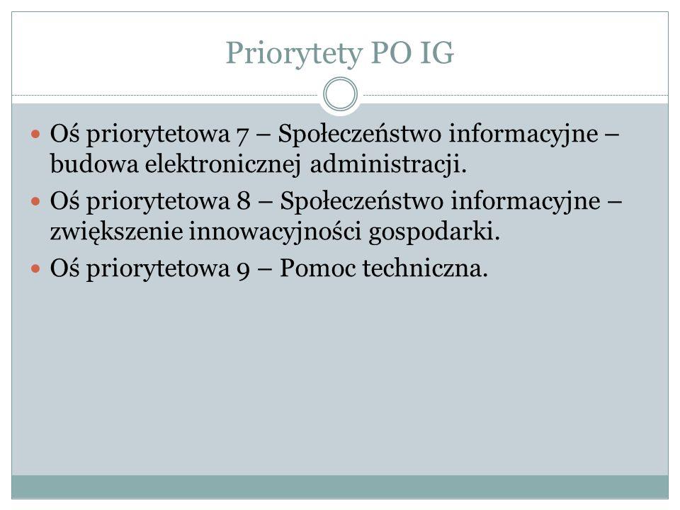 Priorytety PO IG Oś priorytetowa 7 – Społeczeństwo informacyjne – budowa elektronicznej administracji. Oś priorytetowa 8 – Społeczeństwo informacyjne