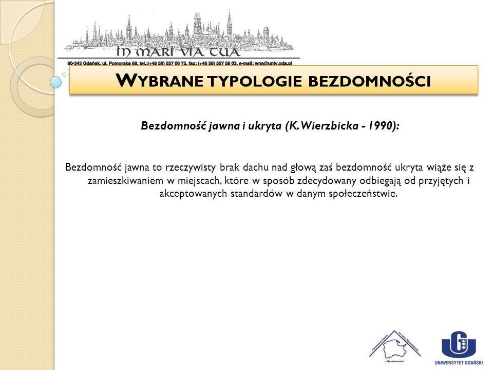 W YBRANE TYPOLOGIE BEZDOMNOŚCI Bezdomność jawna i ukryta (K. Wierzbicka - 1990): Bezdomność jawna to rzeczywisty brak dachu nad głową zaś bezdomność u