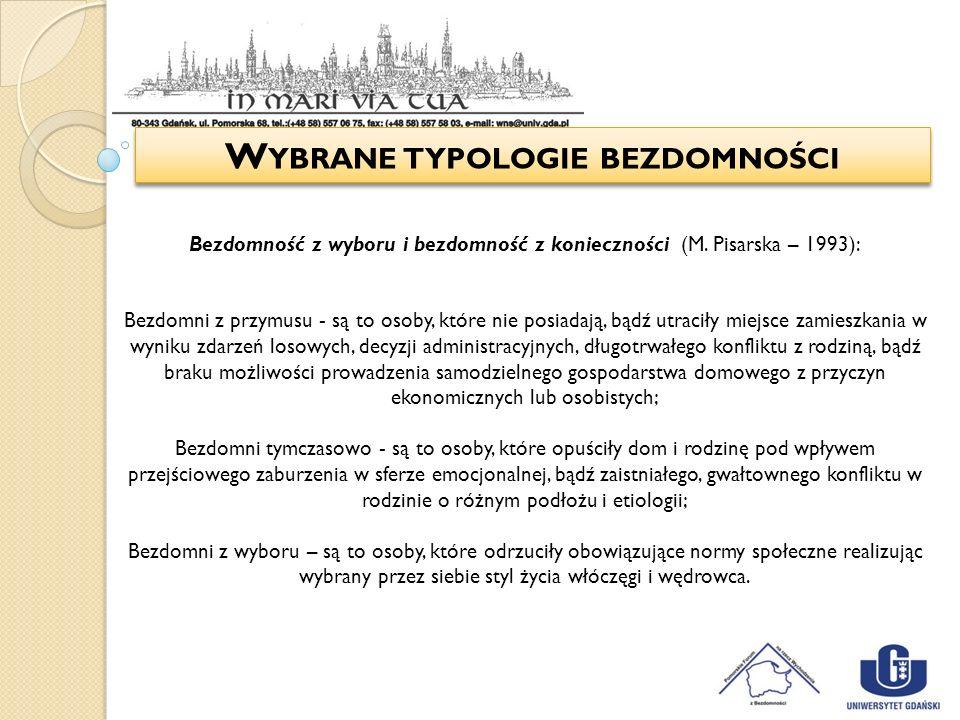 W YBRANE TYPOLOGIE BEZDOMNOŚCI Bezdomność z wyboru i bezdomność z konieczności (M. Pisarska – 1993): Bezdomni z przymusu - są to osoby, które nie posi