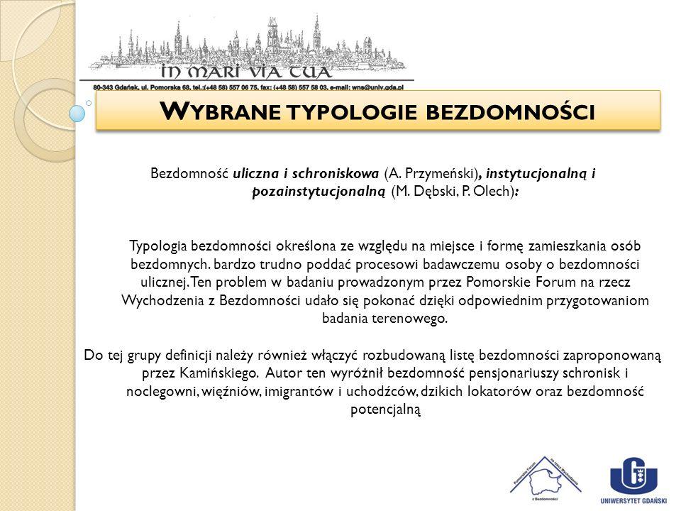 W YBRANE TYPOLOGIE BEZDOMNOŚCI Bezdomność uliczna i schroniskowa (A. Przymeński), instytucjonalną i pozainstytucjonalną (M. Dębski, P. Olech): Typolog