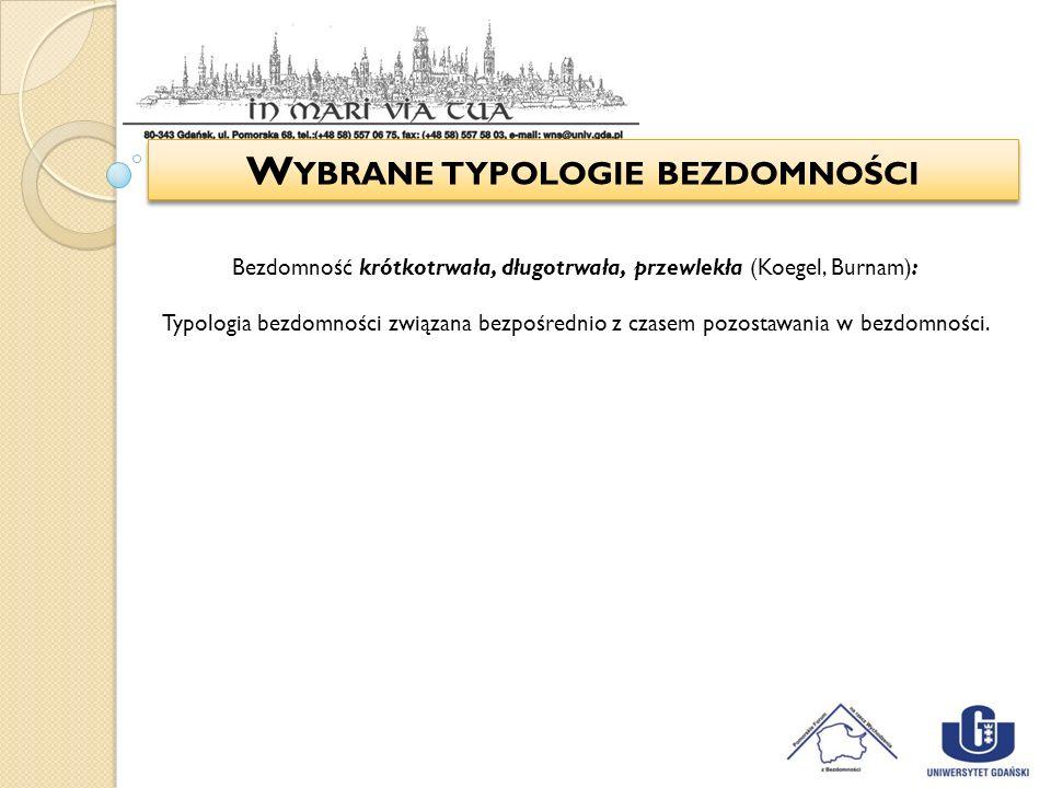 W YBRANE TYPOLOGIE BEZDOMNOŚCI Bezdomność krótkotrwała, długotrwała, przewlekła (Koegel, Burnam): Typologia bezdomności związana bezpośrednio z czasem