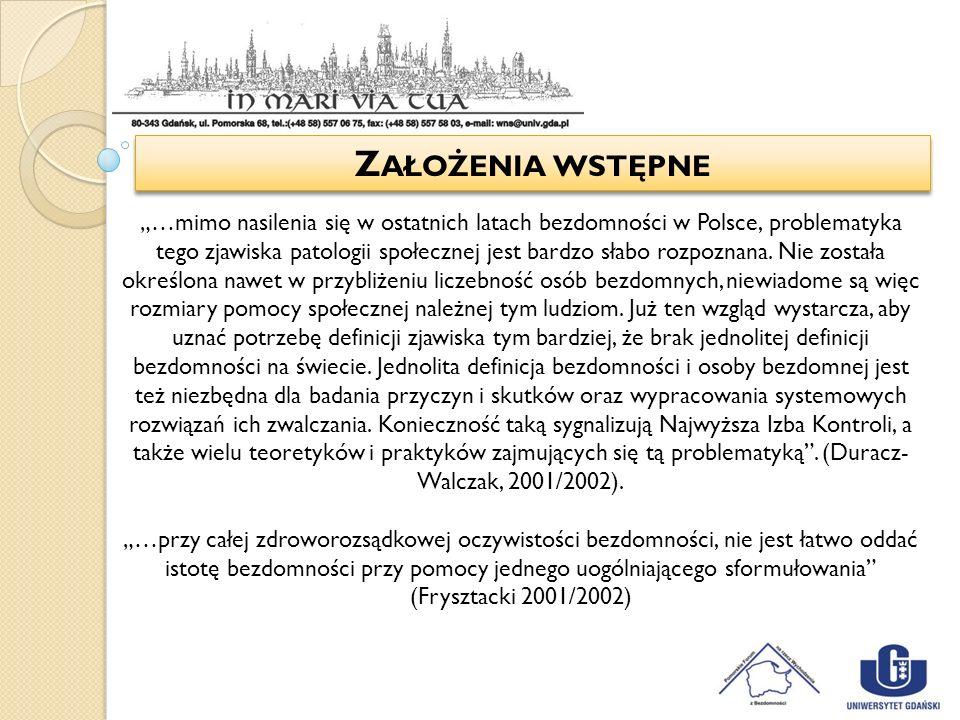 Z AŁOŻENIA WSTĘPNE …mimo nasilenia się w ostatnich latach bezdomności w Polsce, problematyka tego zjawiska patologii społecznej jest bardzo słabo rozp