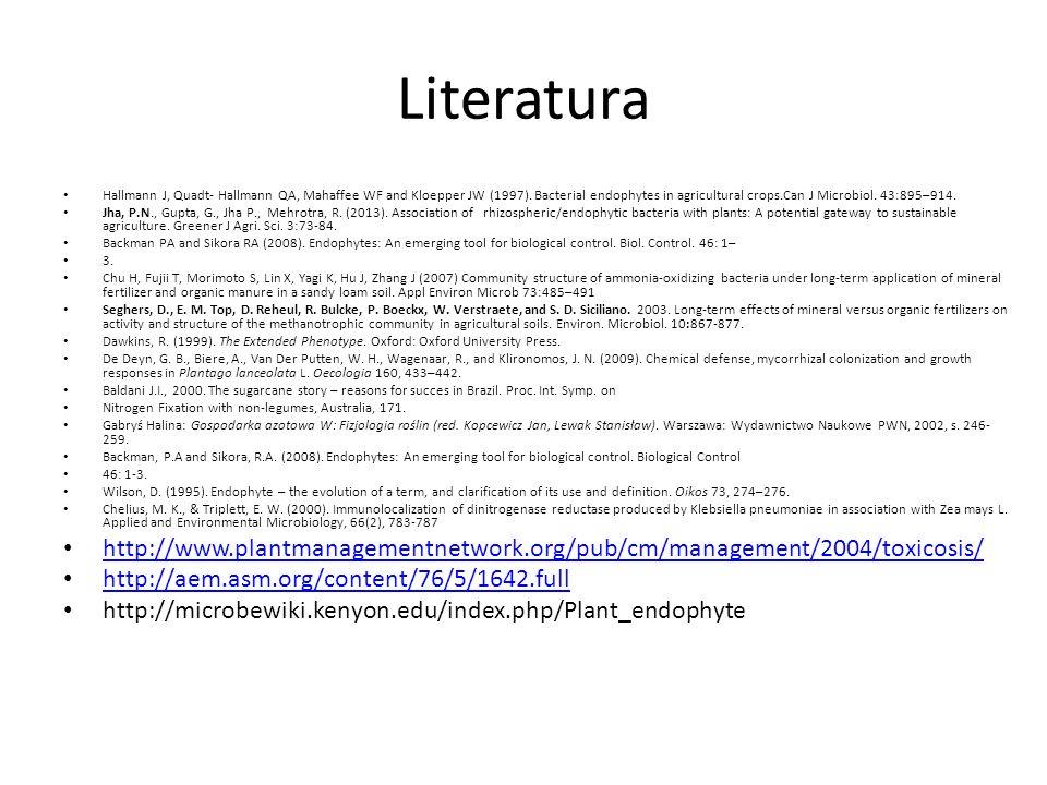Literatura Hallmann J, Quadt- Hallmann QA, Mahaffee WF and Kloepper JW (1997). Bacterial endophytes in agricultural crops.Can J Microbiol. 43:895–914.