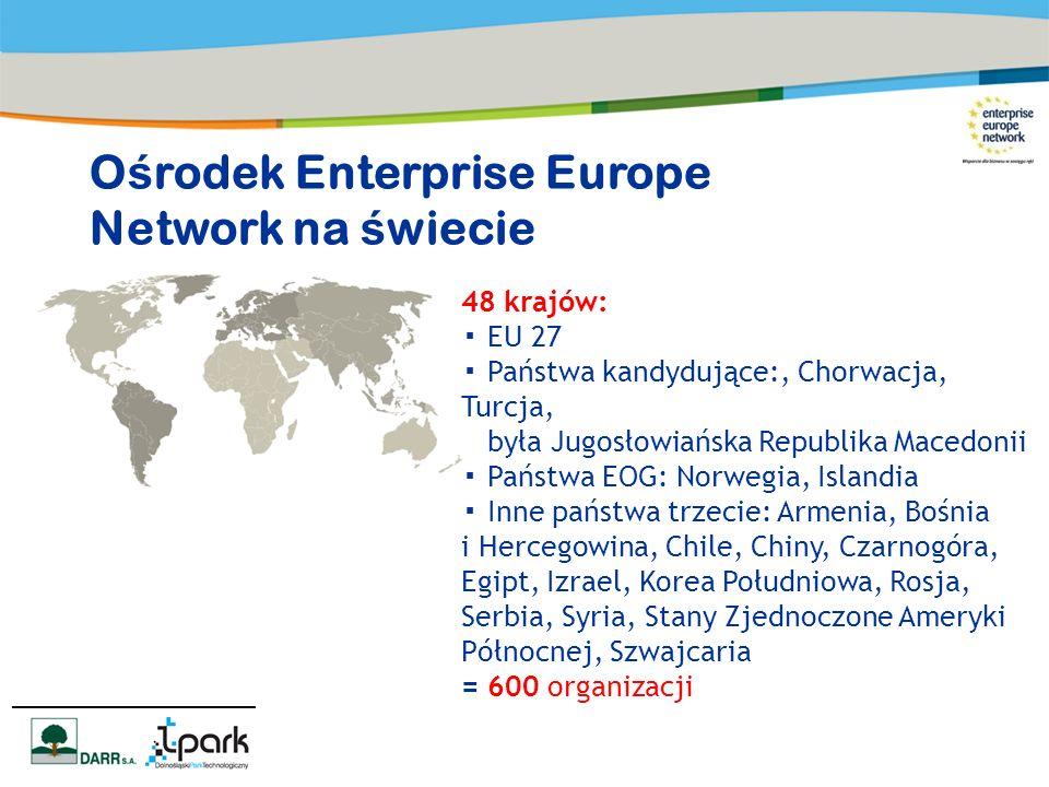 48 krajów: EU 27 Państwa kandydujące:, Chorwacja, Turcja, była Jugosłowiańska Republika Macedonii Państwa EOG: Norwegia, Islandia Inne państwa trzecie: Armenia, Bośnia i Hercegowina, Chile, Chiny, Czarnogóra, Egipt, Izrael, Korea Południowa, Rosja, Serbia, Syria, Stany Zjednoczone Ameryki Północnej, Szwajcaria = 600 organizacji O ś rodek Enterprise Europe Network na ś wiecie