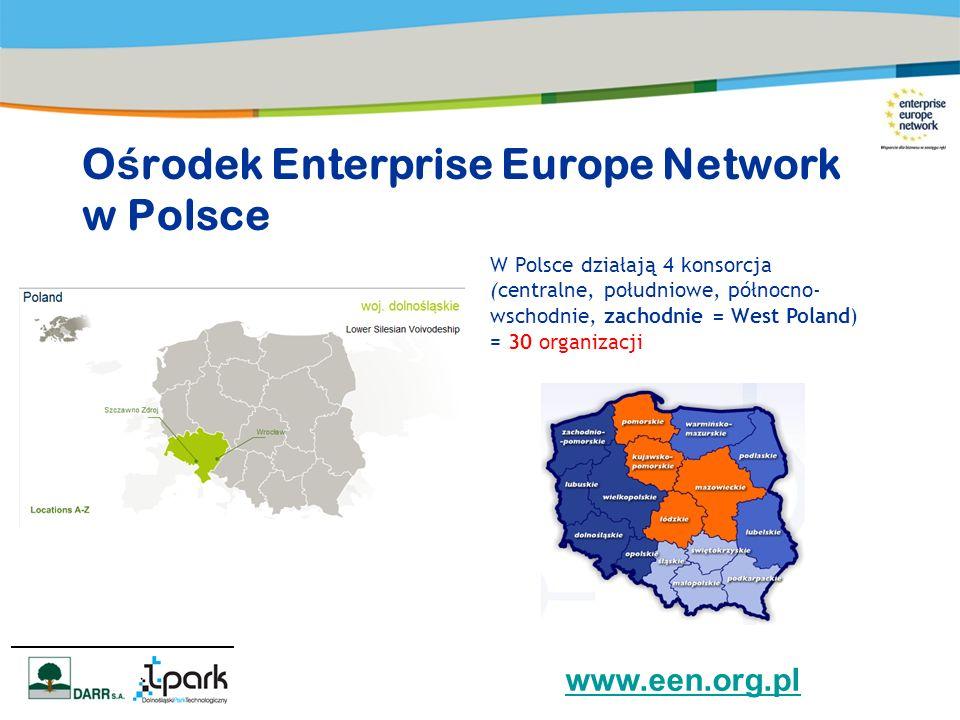 O ś rodek Enterprise Europe Network w Polsce W Polsce działają 4 konsorcja (centralne, południowe, północno- wschodnie, zachodnie = West Poland) = 30