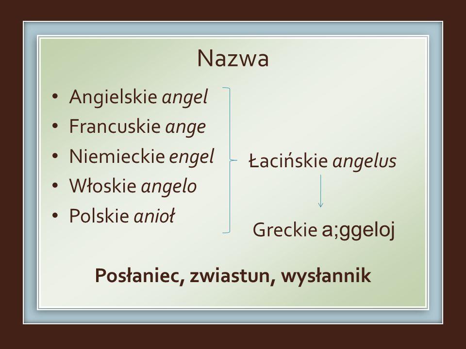 Nazwa Angielskie angel Francuskie ange Niemieckie engel Włoskie angelo Polskie anioł Posłaniec, zwiastun, wysłannik Łacińskie angelus Greckie a;ggeloj