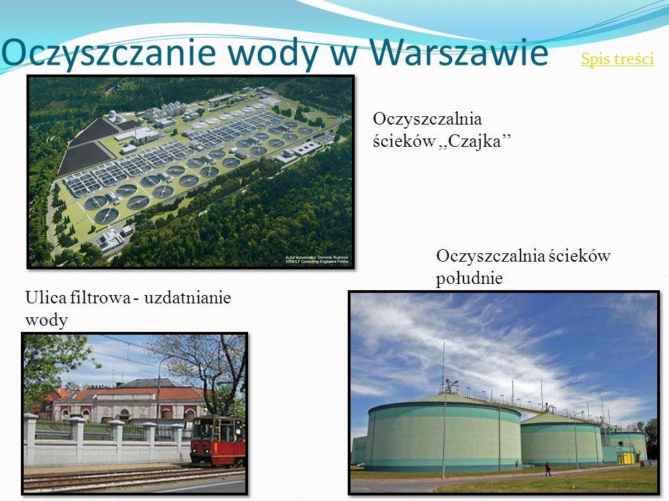 Oczyszczanie wody w Warszawie Spis treści Ulica filtrowa - uzdatnianie wody Oczyszczalnia ścieków południe Oczyszczalnia ścieków,,Czajka