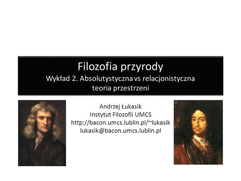Filozofia przyrody Wykład 2. Absolutystyczna vs relacjonistyczna teoria przestrzeni Andrzej Łukasik Instytut Filozofii UMCS http://bacon.umcs.lublin.p
