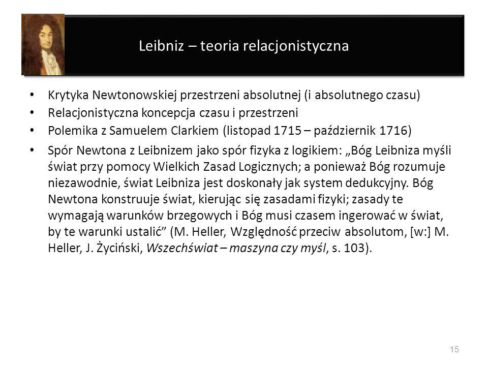Leibniz – teoria relacjonistyczna Krytyka Newtonowskiej przestrzeni absolutnej (i absolutnego czasu) Relacjonistyczna koncepcja czasu i przestrzeni Po