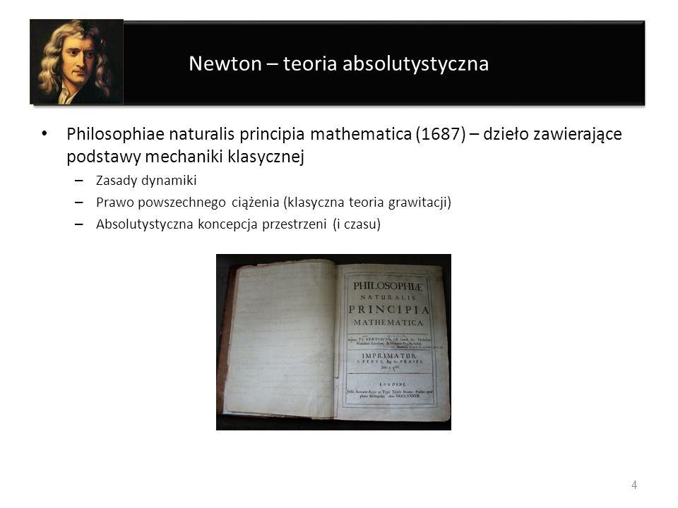 Newton – teoria absolutystyczna Philosophiae naturalis principia mathematica (1687) – dzieło zawierające podstawy mechaniki klasycznej – Zasady dynami
