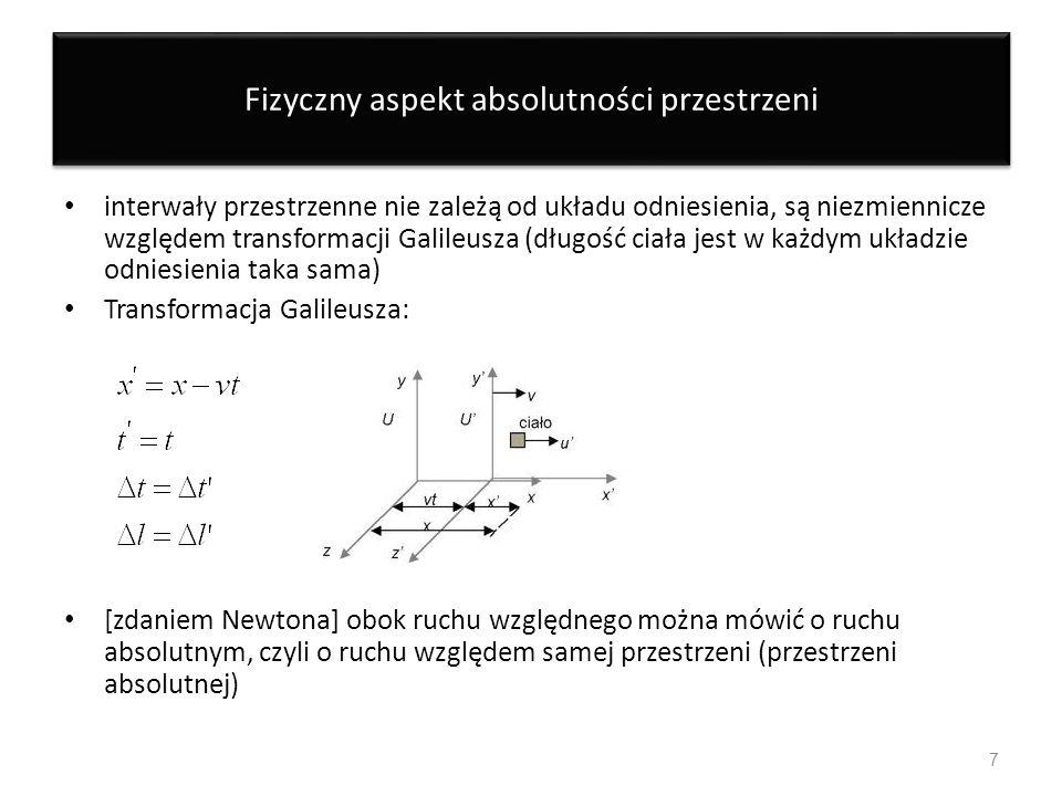 Fizyczny aspekt absolutności przestrzeni interwały przestrzenne nie zależą od układu odniesienia, są niezmiennicze względem transformacji Galileusza (