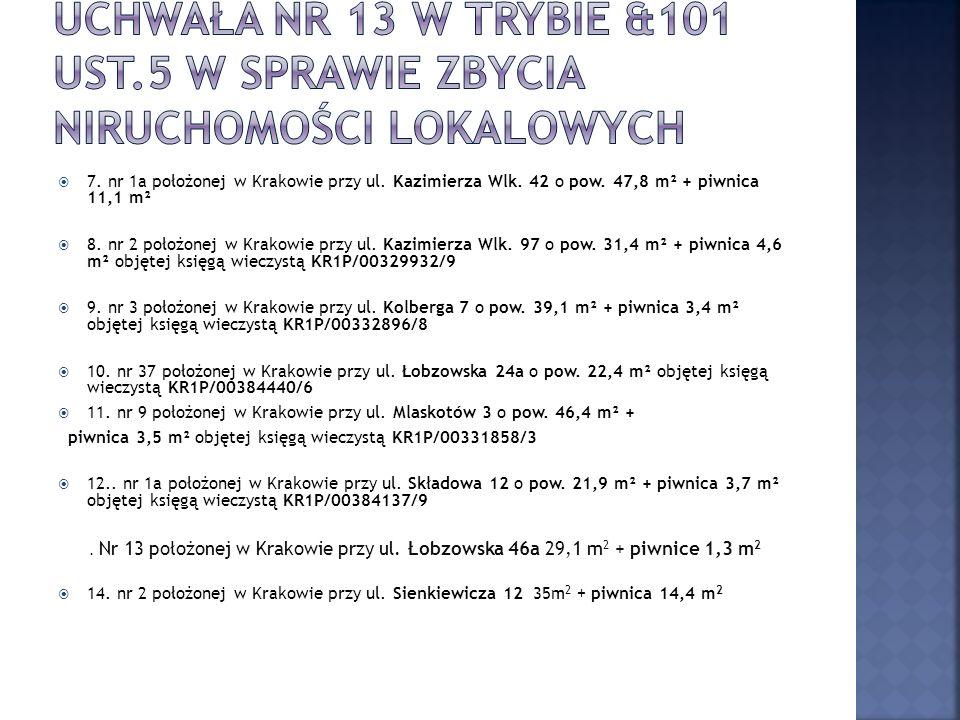7. nr 1a położonej w Krakowie przy ul. Kazimierza Wlk.