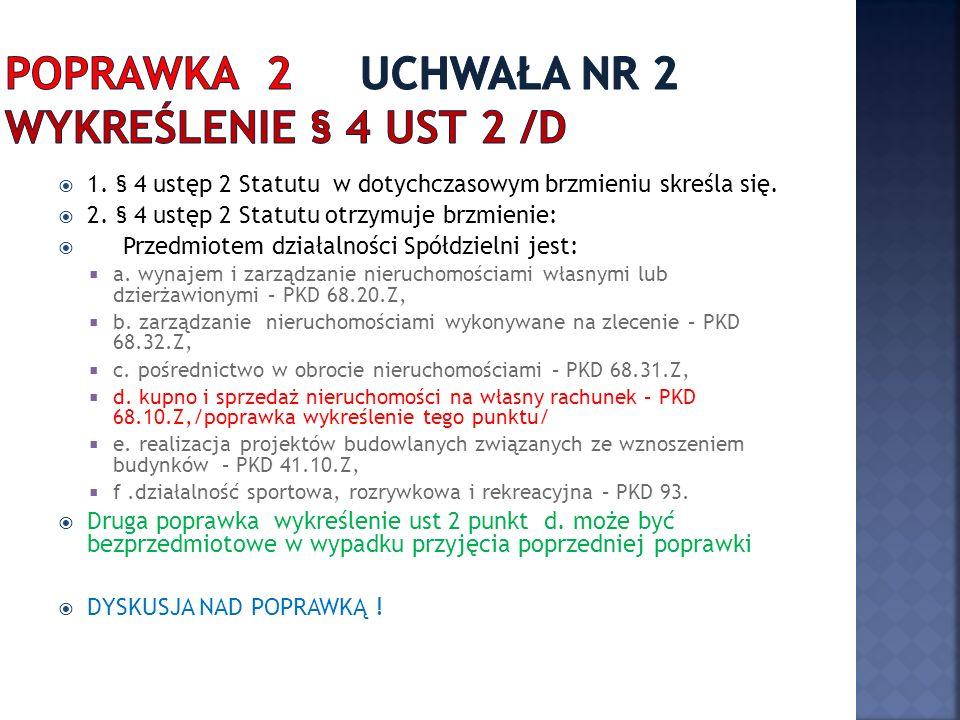 1. § 4 ustęp 2 Statutu w dotychczasowym brzmieniu skreśla się.