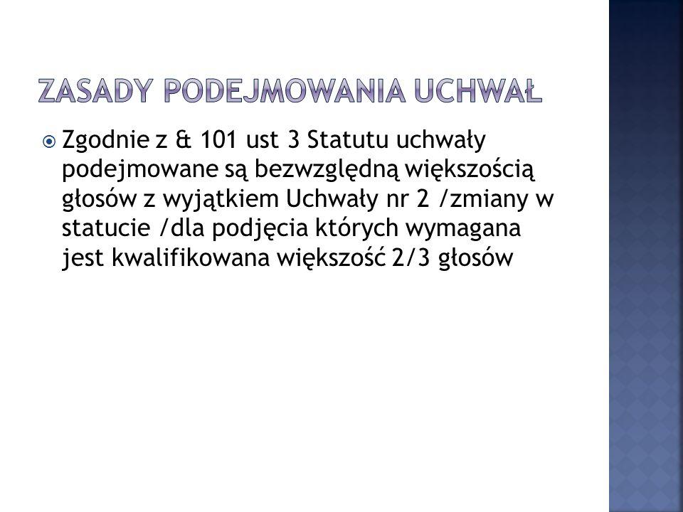 Walne Zgromadzenie działając na podstawie § 98 pkt 5 statutu Spółdzielni uchwala zbycie następujących nieruchomości lokalowych: 1) Bytomska 13/2 40,5 m 2 + 1,1 m 2 2) Chocimska 1/42 37,7 m 2 + 2,7 m 2 3) Chmiela 1/61 38,6 m 2 + 2,7 m 2 4) Chrobrego 29/1 38,2 m 2 + 2,1 m 5) Czarnowiejska 41/39 57,4 m 2 brak piwnicy 6) Kazimierza Wielkiego 113/1 37,9 m 2 + 4,2 m 2 7) Łokietka 17/63 38,0 m 2 + 3,4 m 2
