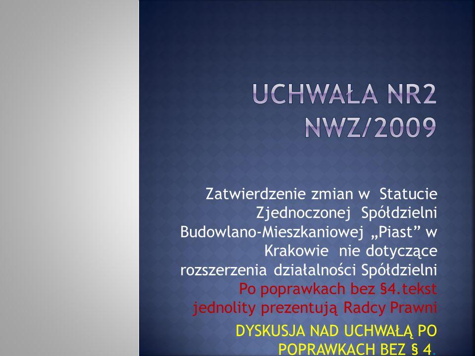 Zatwierdzenie zmian w Statucie Zjednoczonej Spółdzielni Budowlano-Mieszkaniowej Piast w Krakowie nie dotyczące rozszerzenia działalności Spółdzielni Po poprawkach bez §4.tekst jednolity prezentują Radcy Prawni DYSKUSJA NAD UCHWAŁĄ PO POPRAWKACH BEZ § 4.