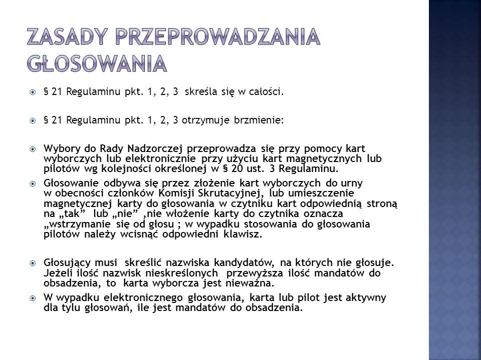 § 21 Regulaminu pkt. 1, 2, 3 skreśla się w całości.