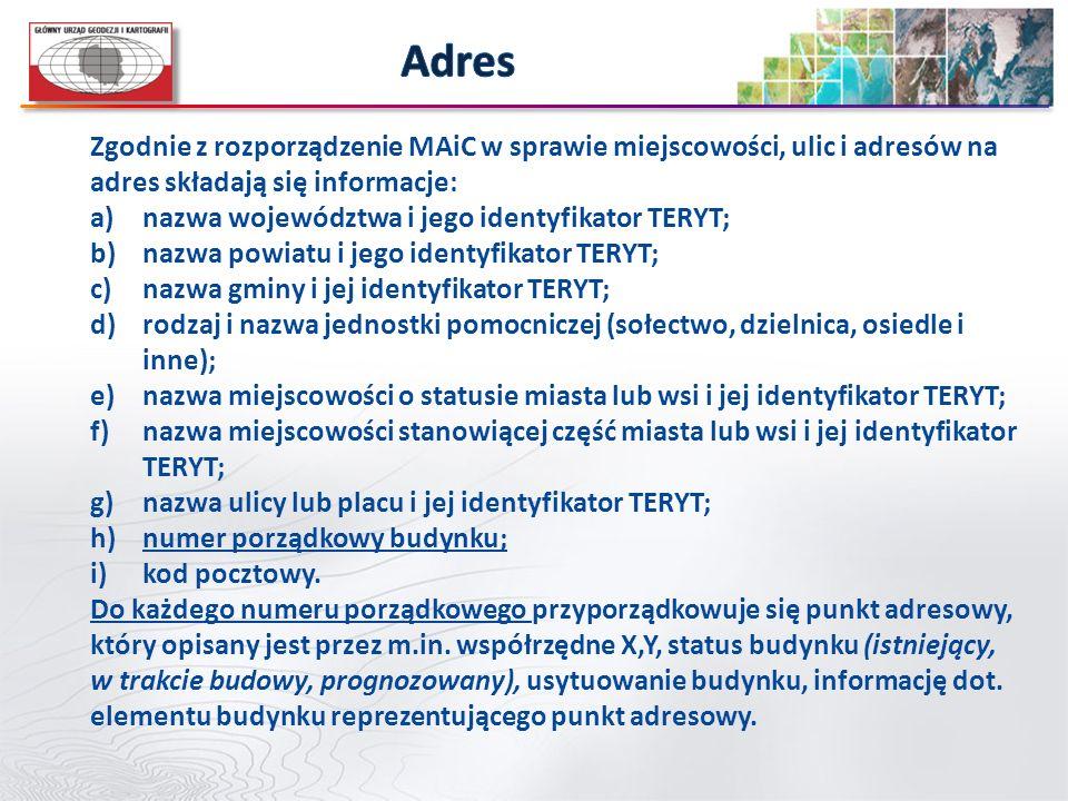 Zgodnie z rozporządzenie MAiC w sprawie miejscowości, ulic i adresów na adres składają się informacje: a)nazwa województwa i jego identyfikator TERYT;