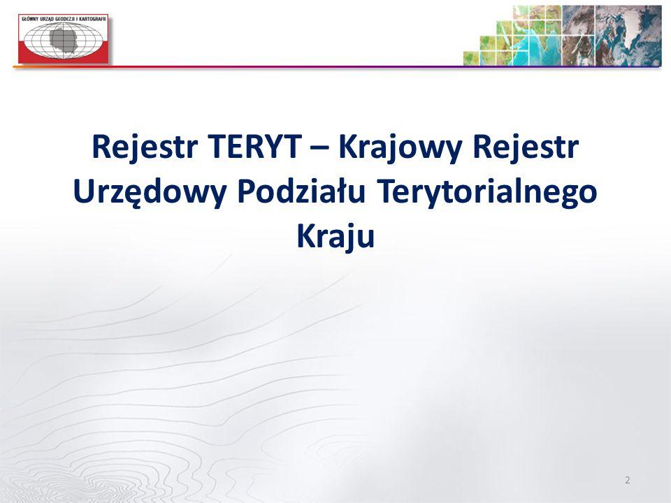 2 Rejestr TERYT – Krajowy Rejestr Urzędowy Podziału Terytorialnego Kraju